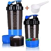 Botella de cocción de proteínas – 3 capas de almacenamiento de torsión y candado con 16 oz de proteínas Shaker taza con almacenamiento/Diet Shaker/botella de agua 500 ml con cuchara y candado de almacenamiento a prueba de fugas botella de batido para al aire libre viaje oficina hogar