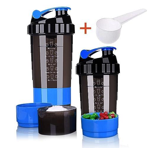 Botella de cocción de proteínas – 3 capas de almacenamiento de torsión y candado con 16
