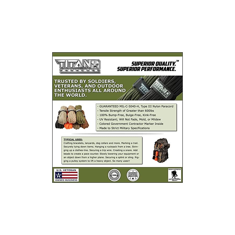 """TITAN MIL SPEC 550 Paracord / Parachute Cord, 103 Continuous Feet, 620 lb. Breaking Strength Authentic MIL C 5040, Type III, 7 Strand, 5/32"""" (4mm) Diameter, 100% Nylon Military Survival Cordage. Includes 3 FREE Paracord Project eBooks."""