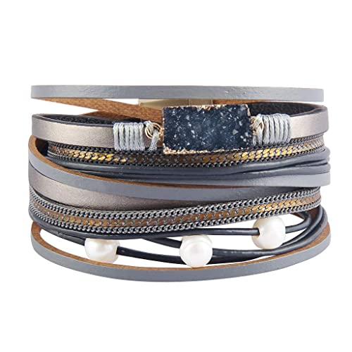 c6ab9c9d478 AZORA Leather Wrap Bracelet for Women Multi Layer Druzy Stone Cuff Bracelets  with Magnet Clasp Gift