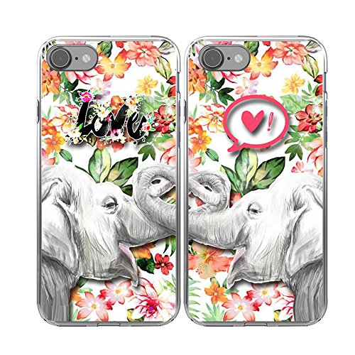 iPhone 7 Couple Case-TTOTT 2x New Slim Bumper Floral Lovely Elephant Love Heart Art Design Sweetheart Lovers Boyfriend Girlfriend Couple Matching Cover Case for iPhone7 4.7inch -