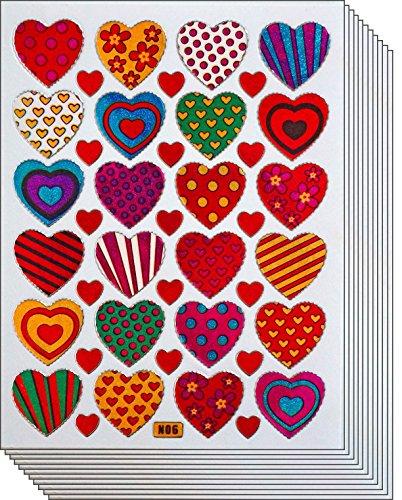 Jazzstick 240 Colorful Valentine Heart Decorative Sticker 10 sheets (VST01A06) -