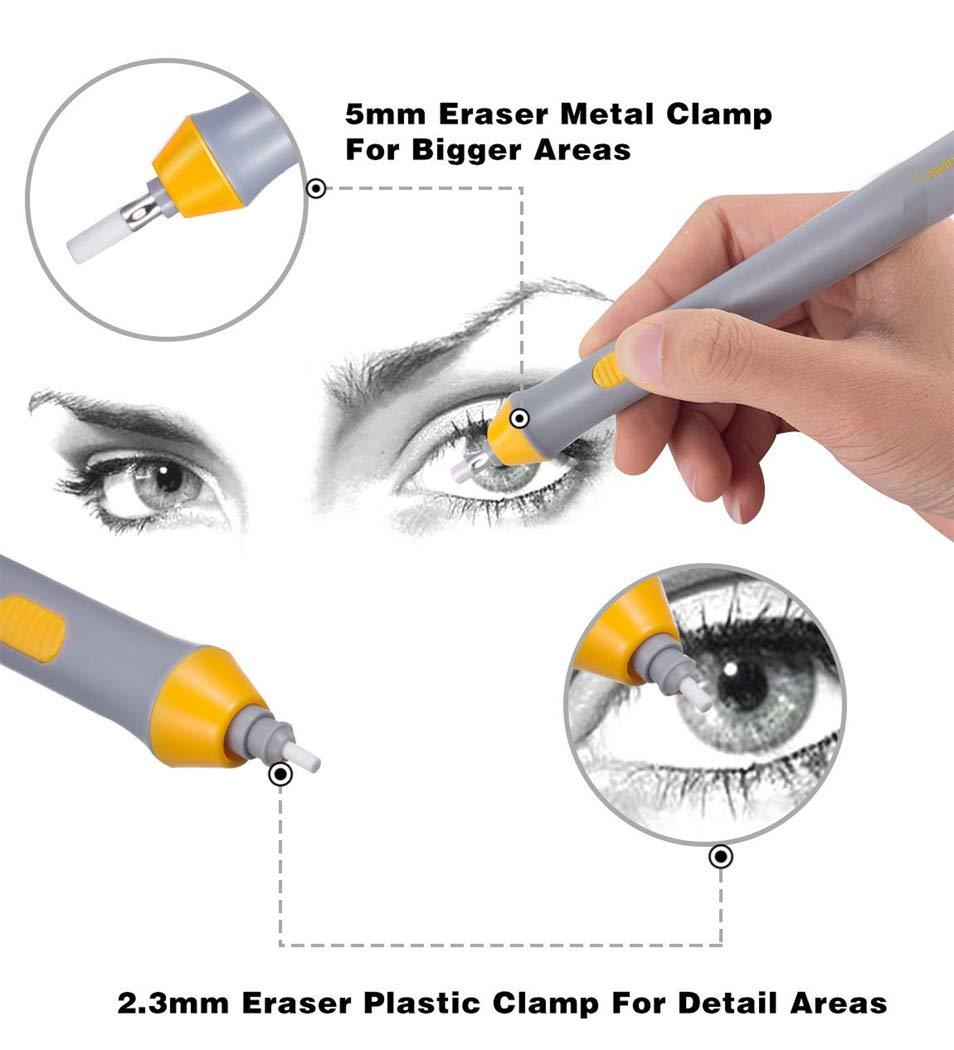 disegno batteria kit gomma elettrica azionato eraser automatico matita con 66pcs gomme sostituibili aggiuntivi per arte matite Hillento 3 set gomma elettrica