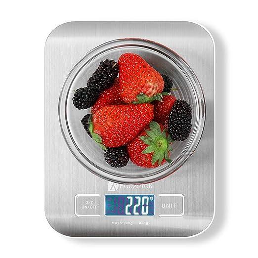 Báscula Digital de Cocina Houzetek Balanza para Comida de Alta Precisión con LCD retroiluminación,Acero Inoxidable,Peso de Alimentos ...