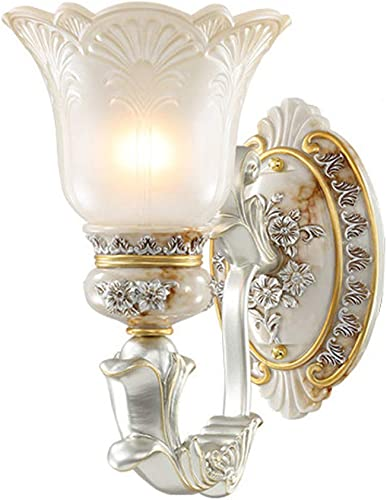 Vintage Luxury Wall Lamp Resin Carved Bedside Wall Light White Glass Shade Wall-Mounted Sconce