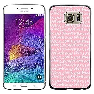 Planetar® ( Pink Paris Love Text Girls Romantic ) Samsung Galaxy S6 / SM-G920 / SM-G920A / SM-G920T / SM-G920F / SM-G920I Fundas Cover Cubre Hard Case Cover