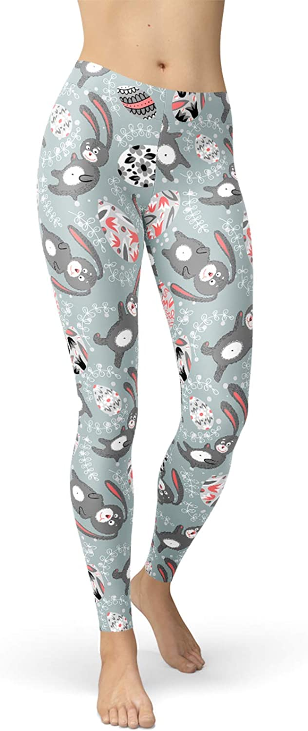 Easter Bunny Leggings Mid Waisted Gray Pants Rabbits and Eggs for Easter Holiday