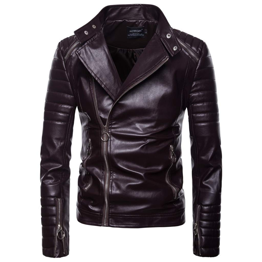 Famisamy  Men Vintage Cool Jacket Leather Long Sleeve Autumn Winter Stand Collar Club Coat Brown by Famisamy