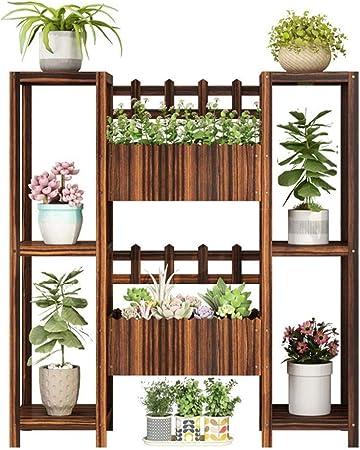 Estante de Flores Puesto de Flores Al Aire Libre Soporte de Flores/balcón de Varios Pisos para Interior Jardinera de Madera Maciza/para jardín de Exteriores/Caja de Flores Escalera de Mano Decor: Amazon.es: Hogar