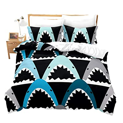 Feelyou Children's Duvet Cover Set Twin Size Cute Cartoon Shark Print Bedding Set for Boys Girls, Decorative Microfiber Polyester Comforter Cover with 1 Pillow Shams, Zipper, Blue Green Grey 2 Pcs: Home & Kitchen