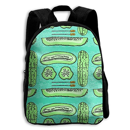 Green Cucumber Pickles Pattern Printed Oxford School Bag Kid Double Zipper Closure Casual Shoulder Bags