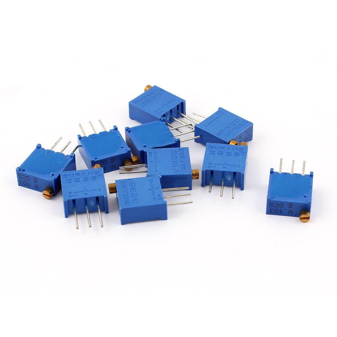 sourcingmap 3296W-103 10K Ohm Trim Pot Potentiometer Variable Resistors 10Pcs