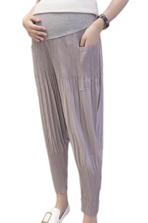 Fanvans Womens Maternity Lounge Pants Comfortable Harem Ankle Drawers Grey L