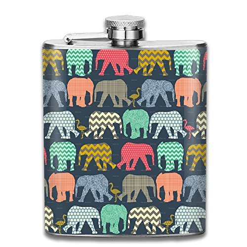 T Mobile Girl Halloween Costume (Elephant Flamingo Art Print Stainless Steel Hip Flask 100% Leak Proof Wine Bottles Classic Flask Fashion Ideal Gift For Men Women,7 Oz)