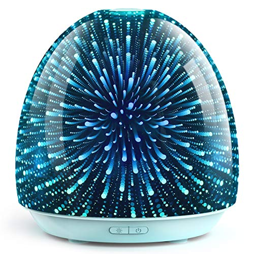 ASAKUKI 3D Glass Essential Oil Diffuser, 200ml Aromatherapy Ultrasonic Humidifier, Auto Shut -Off With 7 Color LED Lights Changing for Office Home Study Yoga Spa Baby