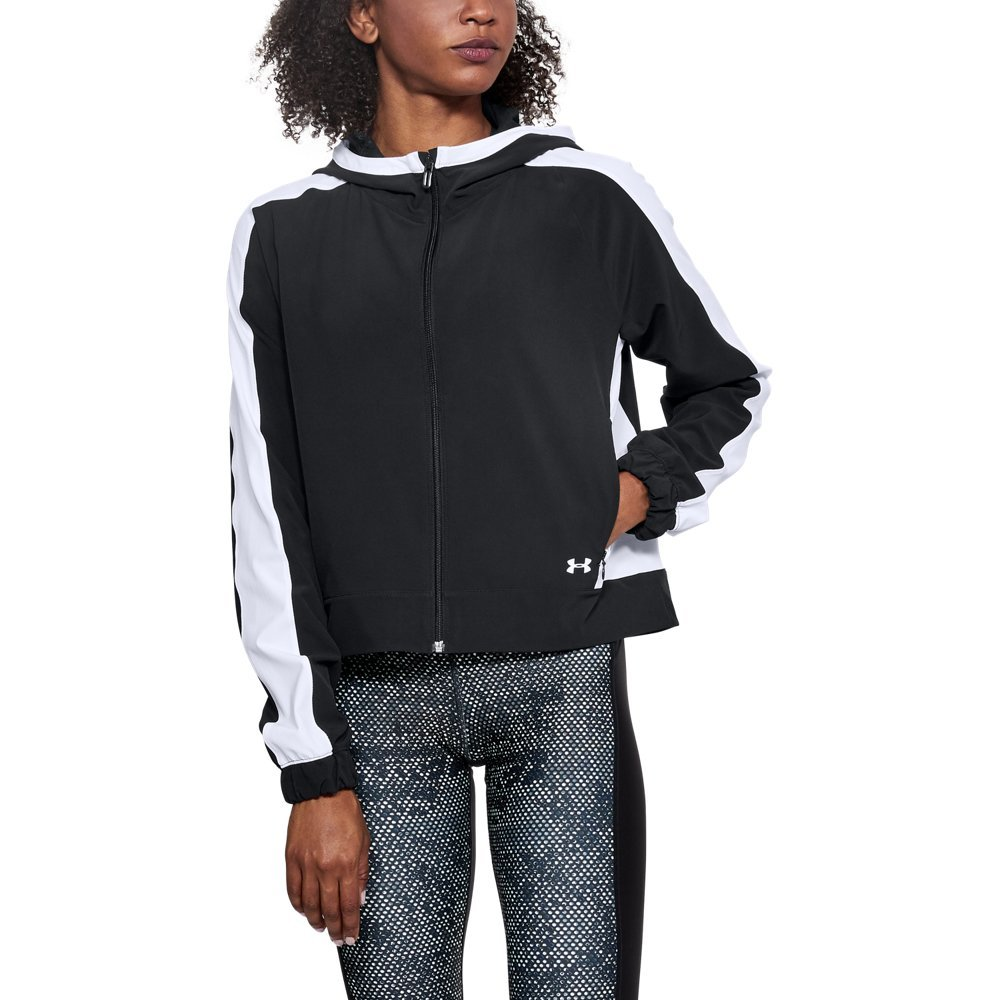 Under Armour Womens Storm Woven Full Zip Jacket, Black (001)/White, Small