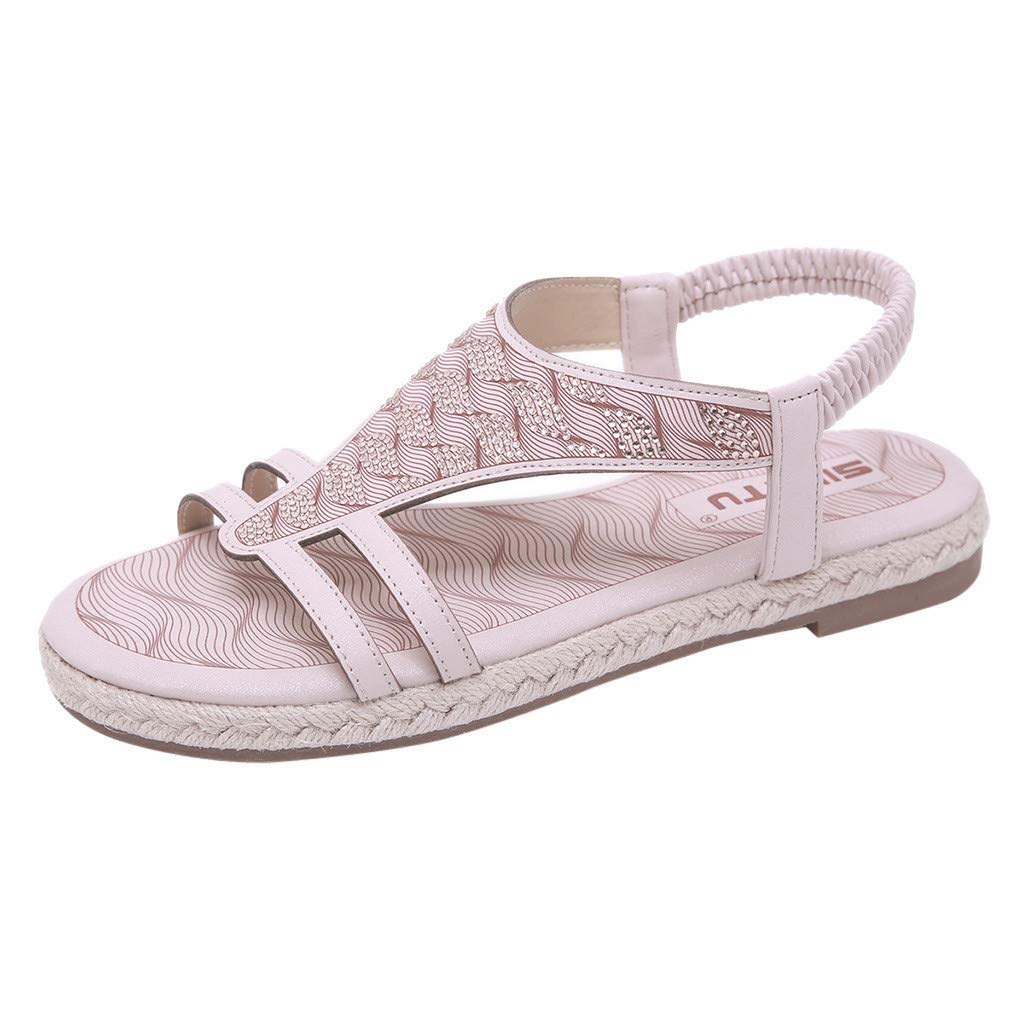 Tantisy ♣↭♣ Women's Flat Sandals T-Strap Summer Beach Bohemian Rhinestone Flip Flops Thong Shoes Pink