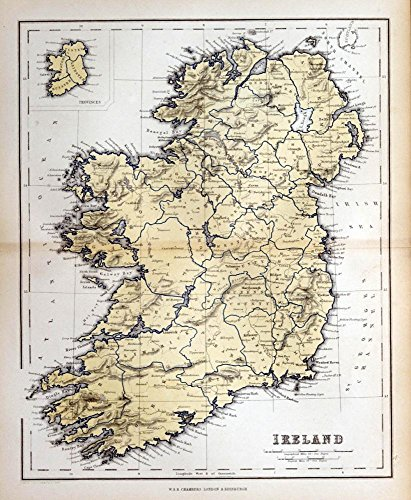 Wallmonkeys Old Map Ireland 1870 Wall Mural Peel and Stick Graphic (12 in H x 10 in W) WM321575
