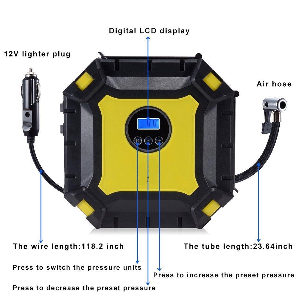 WULAU Compresor de Aire portátil,Compresor Automático Bomba inflador con luz 9 LED (DC 12V, 100PSI, 35L/Min, 3 adaptadores Boquilla, 3m Cable con mechero, ...