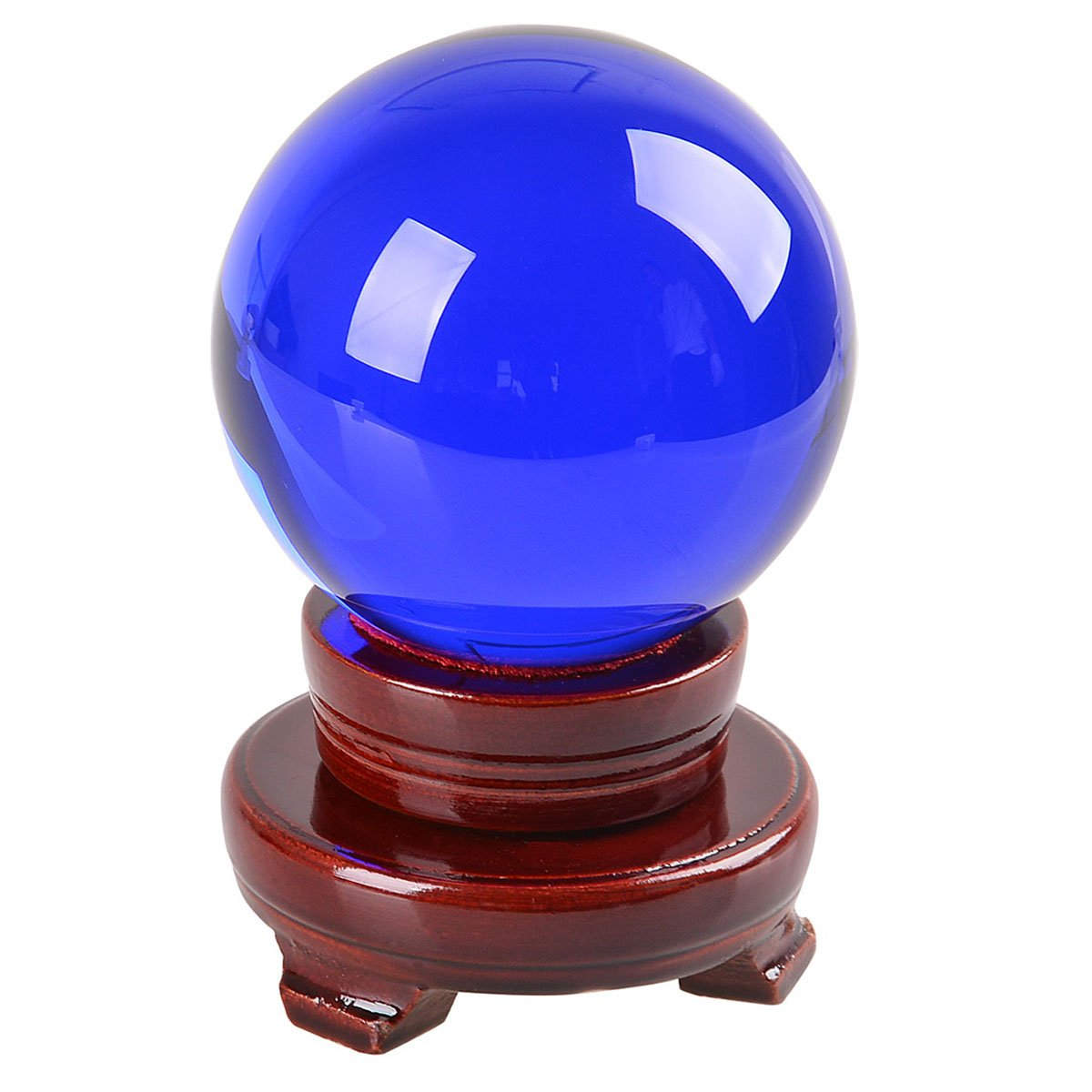 多色透明 水晶玉 150mm クリスタルボール 装飾品 【木製台ギフトボックス】 (藍色) B01MSYJS2D 藍色 藍色