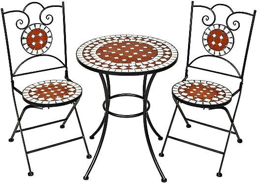 TecTake 401637 - Conjunto de Muebles de jardín Mosaico Mesa con sillas terraza Metal cerámica: Amazon.es: Jardín
