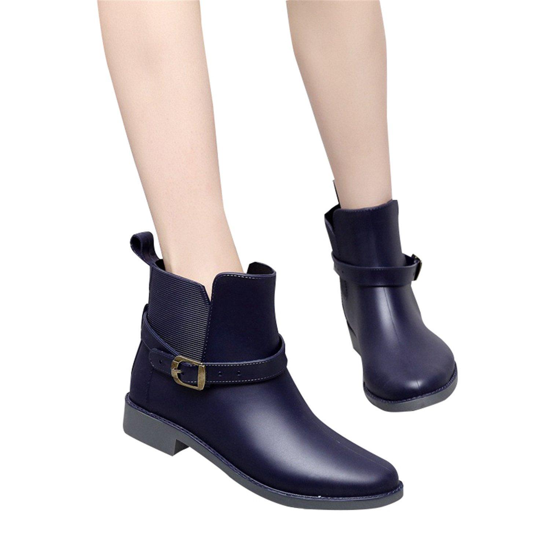 Thytas Elastic Band Solid Women Rain Boot Waterproof Women Boots Rubber Low Heel Shoes