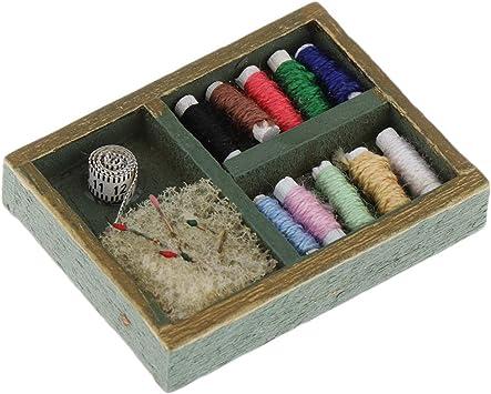 Amazon.es: Caja de Madera Kit de Herramientas de Costura en Miniaturas de Casa de Muñecas para Niños: Juguetes y juegos