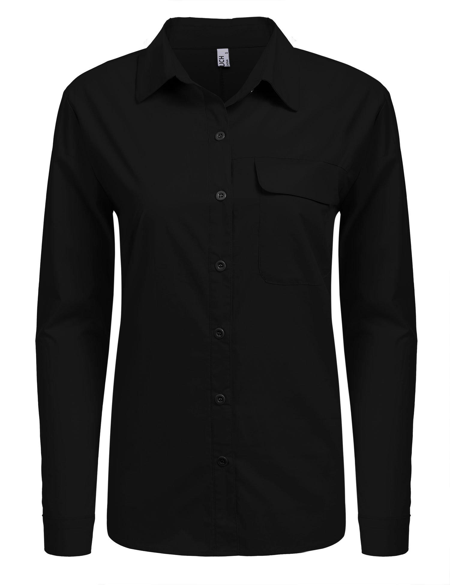 BeautyUU Damen Langarm Hemd Bluse Basic Hemd Slim Fit Arbeitshemd Freizeithemd Mit Verstellbaren Ärmeln Schwarz S
