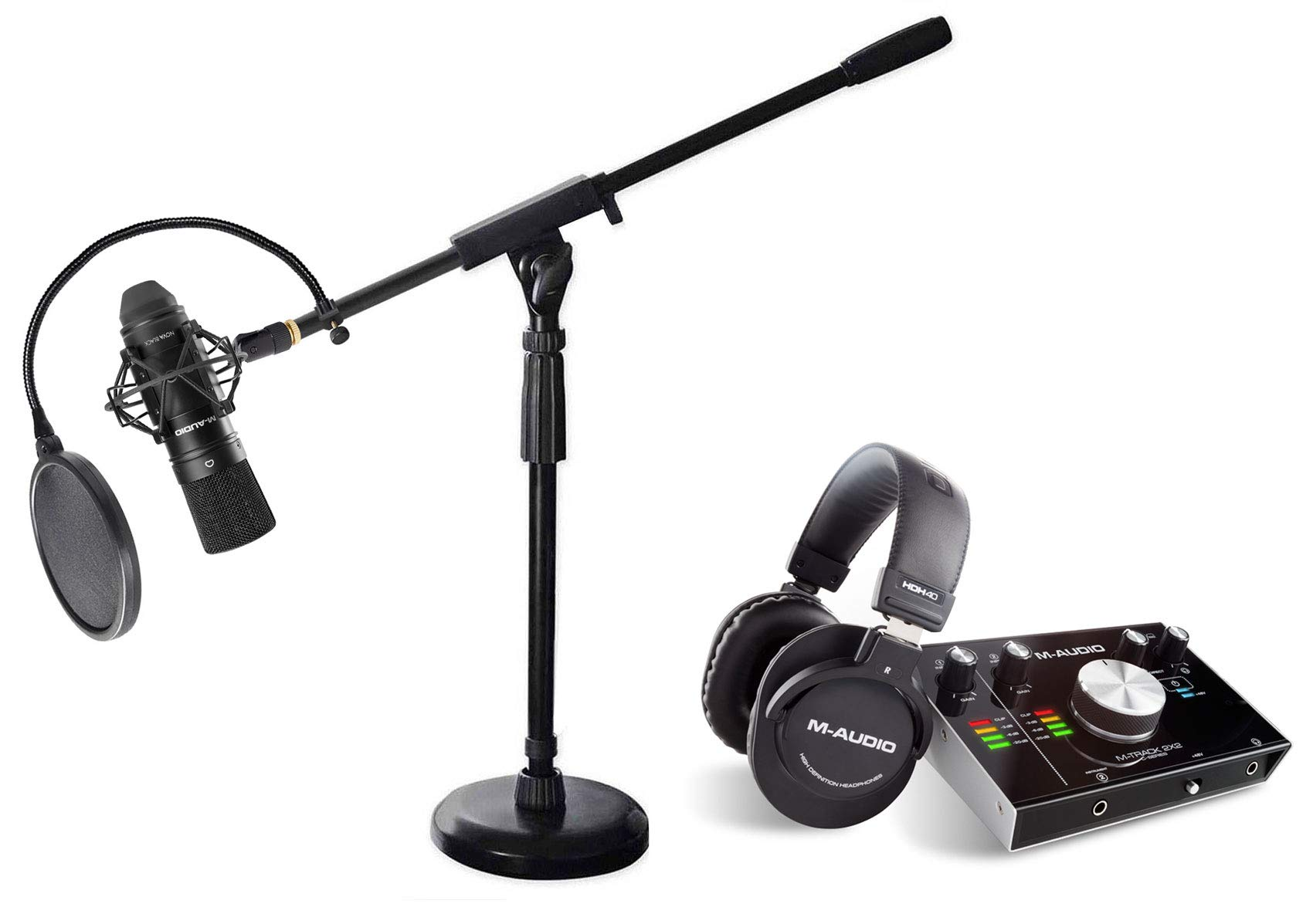 M-Audio MTRACK Podcast Podcasting Kit Headphones+Interface+Mic+Desk Boom Stand