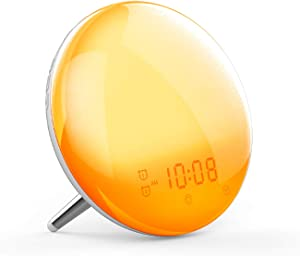 Wake Up Light,Moes WiFi Smart Sunrise/Sunset Simulation Alarm Clock, 2nd Generation Sleep Aid Digital Alarm Clock with 7 Colors/4 Alarms/FM Radio/Snooze Night Light ,Work with Alexa