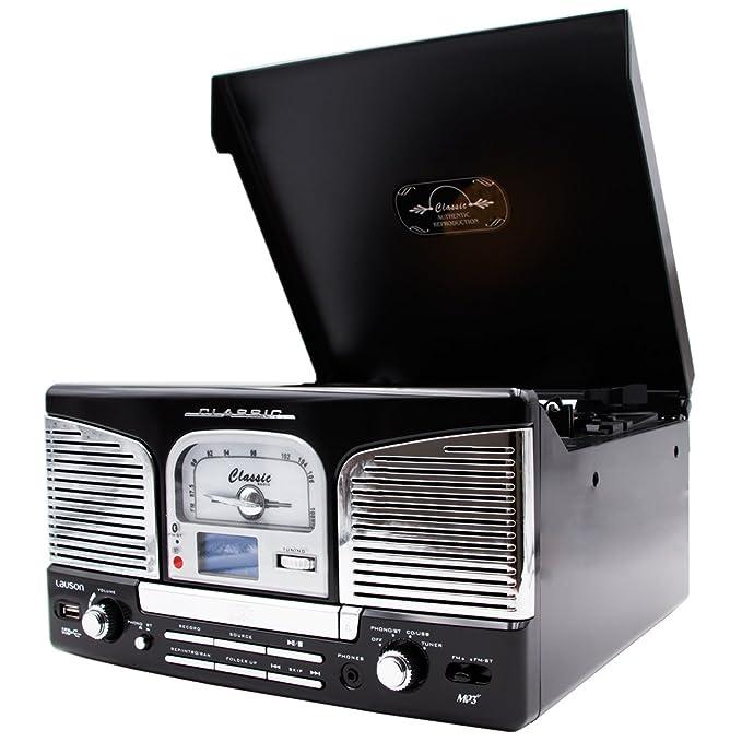 Lauson - Tocadiscos cl141 con CD, Radio, USB Grabador y Bluetooth ...