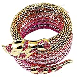 Flexible Mesh Snake Bracelet - with Gold Tones & Faux Gemstones - Fuchsia.
