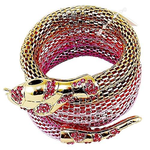 Flexible Mesh Bracelet - Flexible Mesh Snake Bracelet - with Gold Tones & Faux Gemstones - Fuchsia.