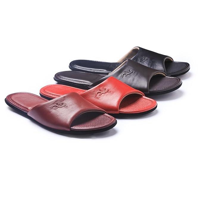 Zapatillas de estar por casa,KENROLL Zapatillas de cuero para Hombre para Mujer interior piso de dormitorio Antideslizante Slippers (5.5-6 UK/37-38 EU, Rojo)