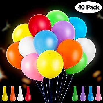 GIGALUMI Paquete de 40 Luces LED con Globos de Colores ...