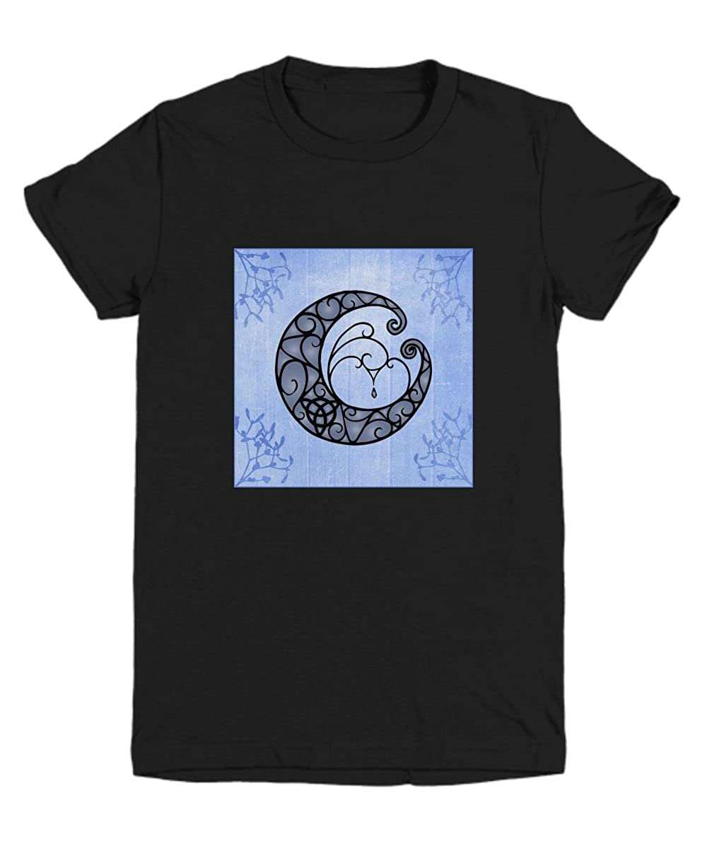 Youth Tee with Crescent Moon and Trinity Knot on Flowered Backdrop.