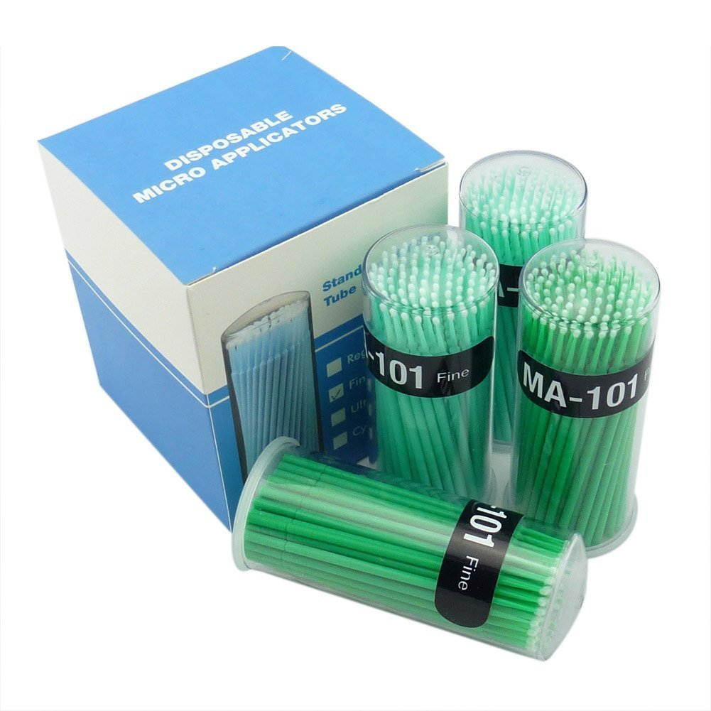 Easyinsmile 400 Pcs Dental Disposable Micro Applicator Brush Bendable Fine Green Dia.2 Mm
