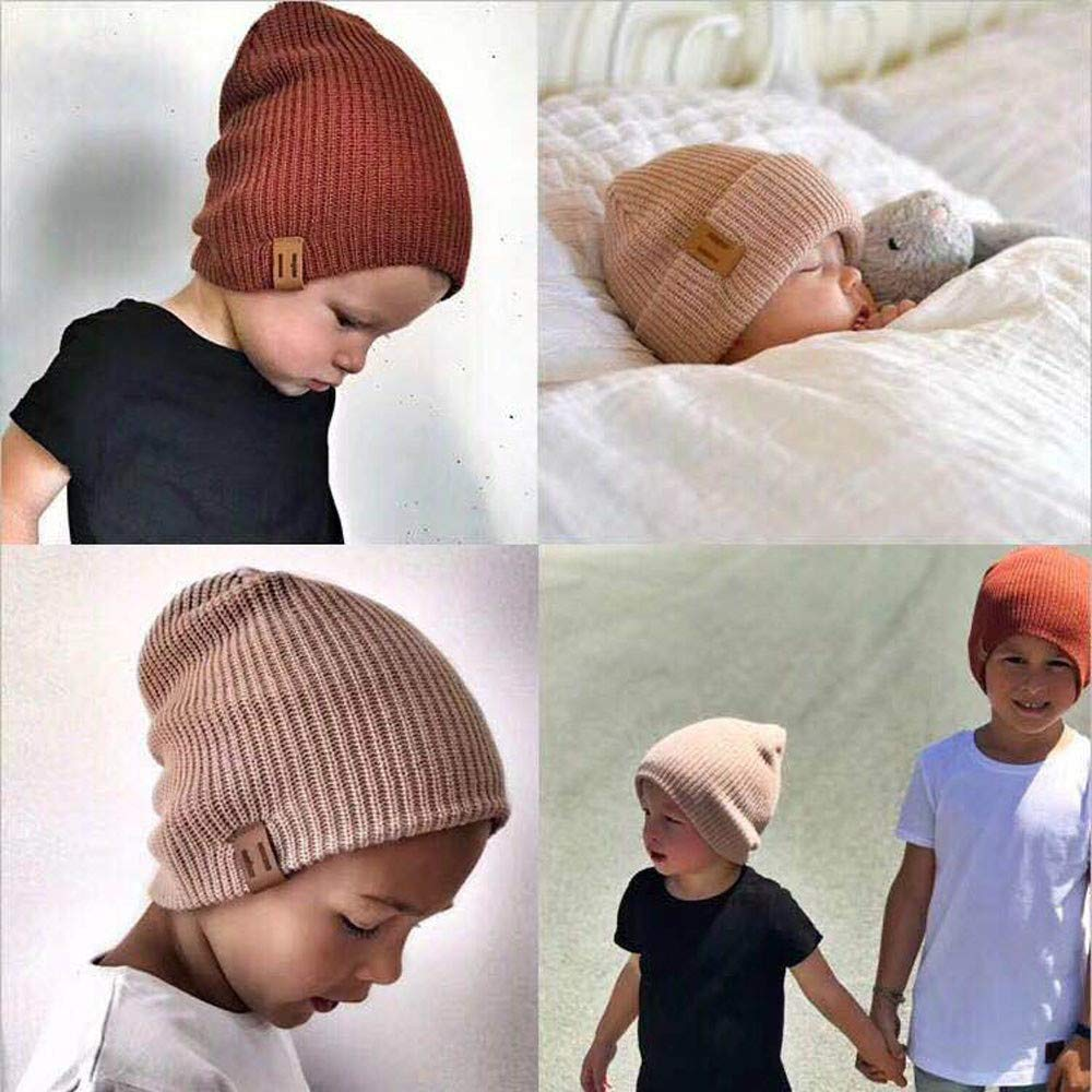 Huangou Baby Boy Winter Warm Fleece Lined Hat Infant Toddler Kids Beanie Knit Cap for Girls and Boys 6M-4T
