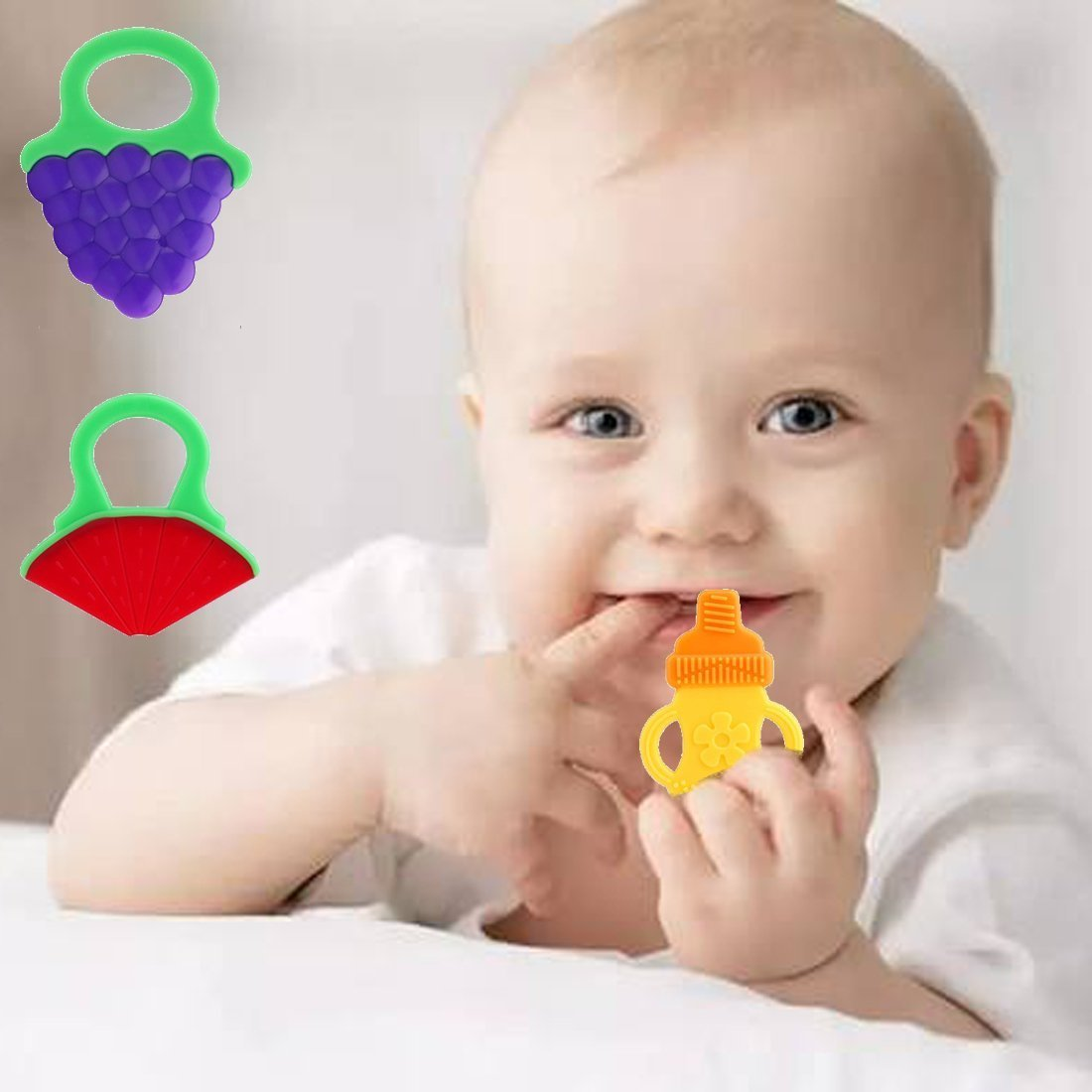 Bagvhandbagro Baby Teething Chew Toys Soft and Chewy 6 Pack No BPA or Phthalates frozen toys Safe Teether,FDA Approved Latex