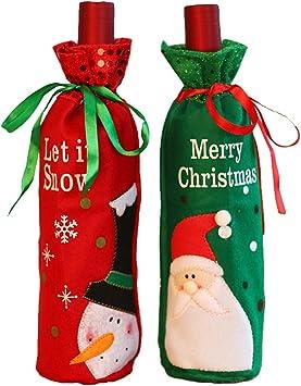 2 piezas de Santa Claus botella de vino cubierta bolsas de vino ...