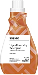 Amazon Brand - Solimo Concentrated Liquid Laundry Detergent, Fresh Scent, 64 loads, 48 fl oz