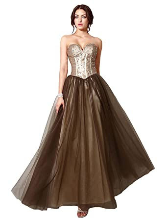 Clearbridal Womens Gold Brown Sequin Prom Evening Dresses Long Strappless Ball Gowns SD187 UK6