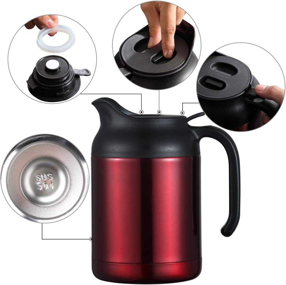 Red ArderLive 40.5oz Thermal Coffee Carafe,Stainless Steel Insulated Double Wall Vacuum Thermos//12 Hrs Heat Cold Retention