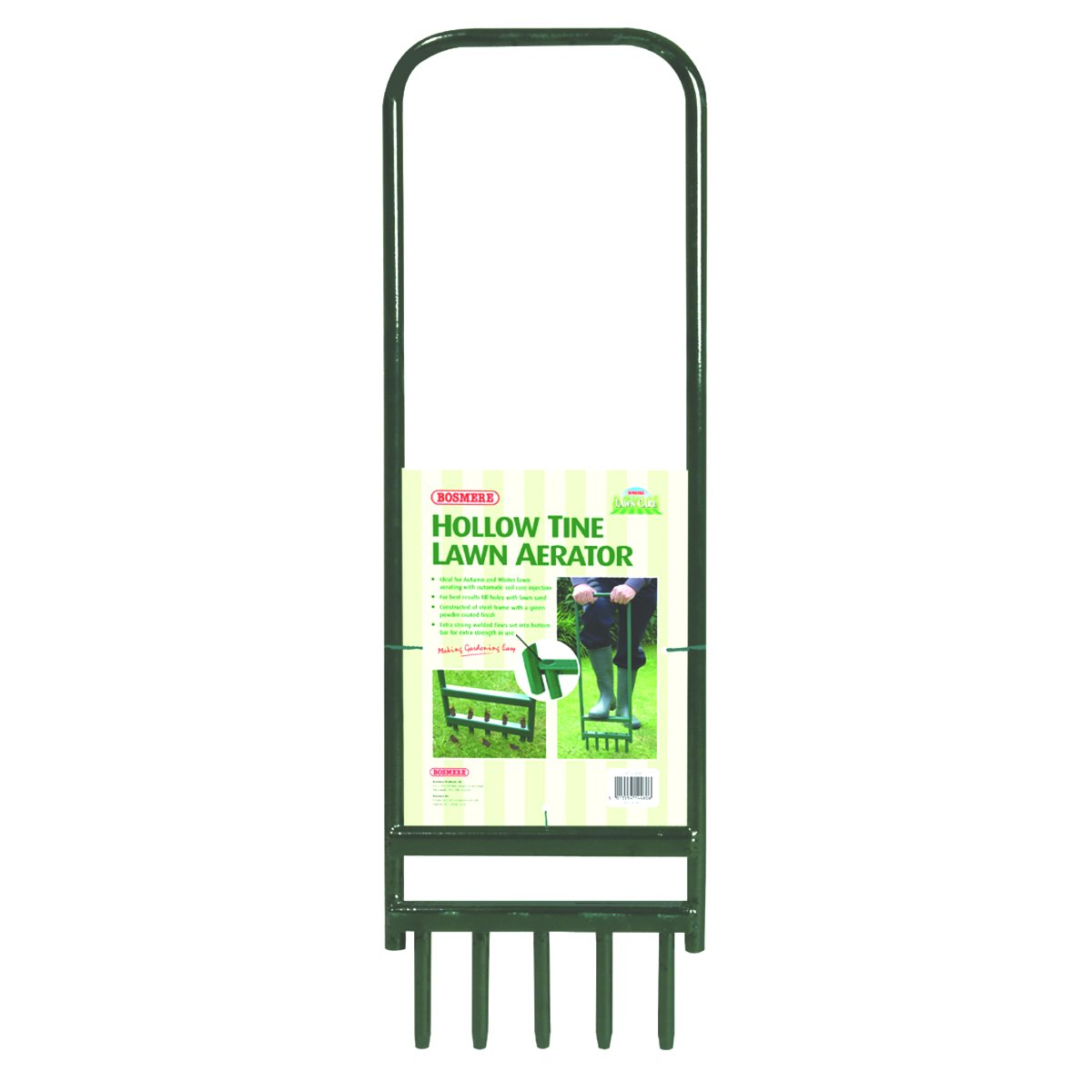 Bosmere Hollow Tine Lawn Aerator with 5 Tines, 35'' x 11''