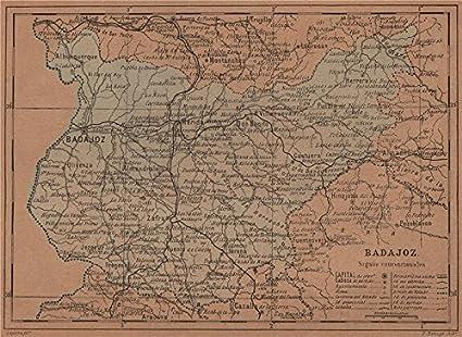 Amazon Com Badajoz Merida Extremadura Mapa Antiguo De La