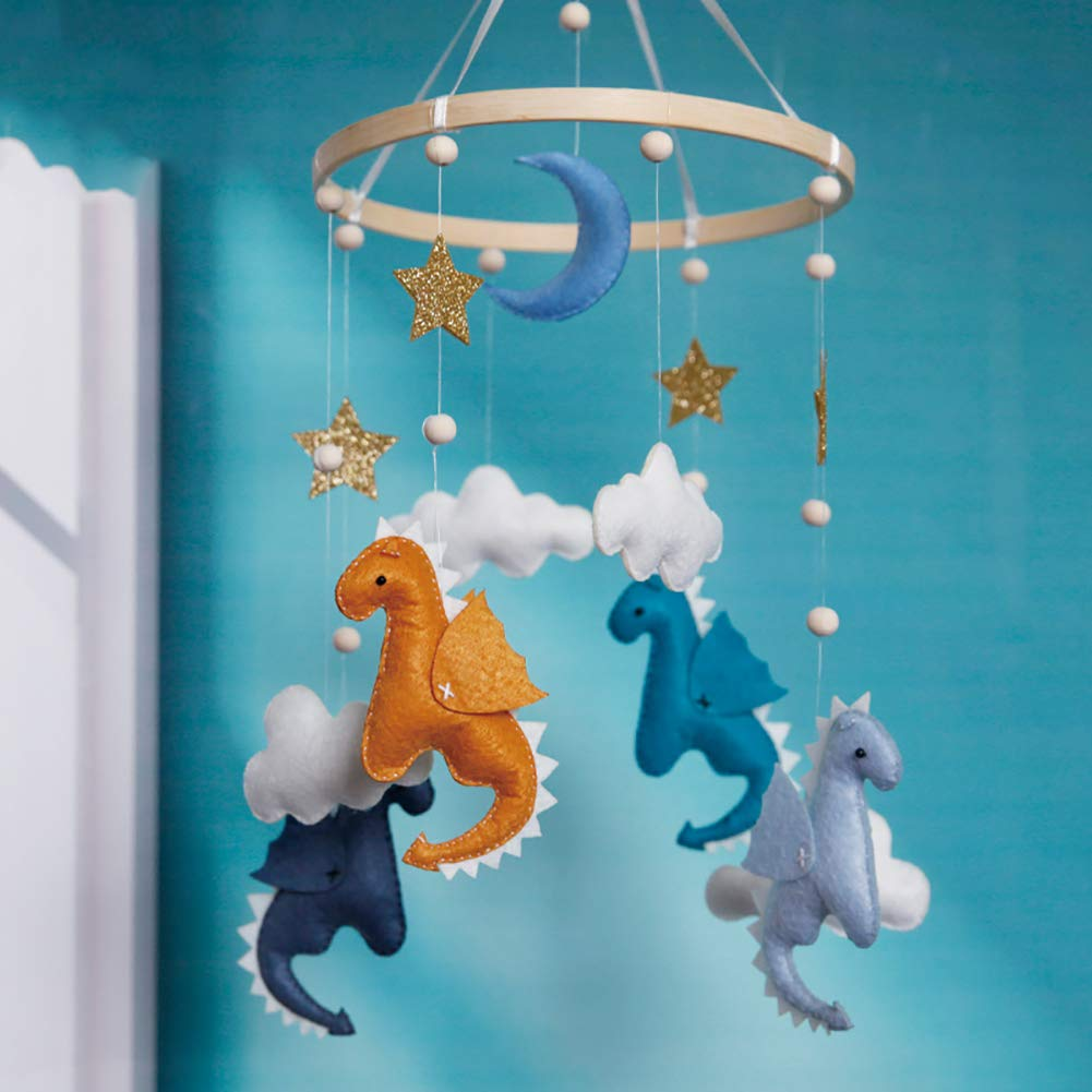 Baby Cot Mobile Felt Ball Mobile Dinosaur Hairball Wind Chimes Bed Bell Rattle Toys Hanging Ornaments Photo Props