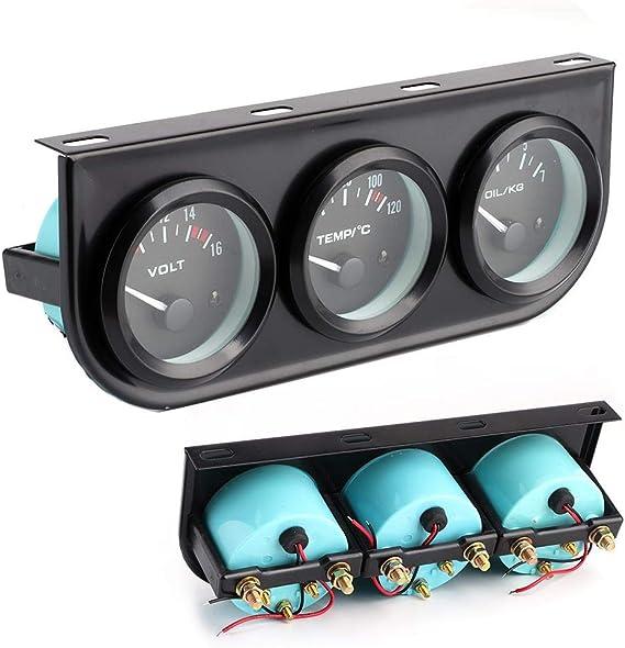 3 in 1 Car Meter Auto Gauge 1//8in NPT 52mm//2in 8-16V Voltmeter 40-120℃ Water Temp Meter 0-7kg Oil Pressure Gauge Kit for 12V Car