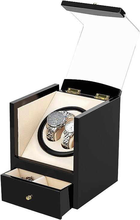 Watch Winder, AGM Enrollador Relojes, Estuche Bobinadora Caja Giratoria para Relojes Automáticos Mecánicos Silenciosa de Madera Pintada con Caja de Almacenamiento, Relojes Vitrina (2+2, Negro): Amazon.es: Relojes