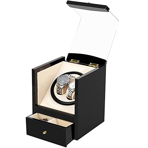 Watch Winder, AGM Enrollador Relojes, Estuche Bobinadora Caja Giratoria para Relojes Automáticos Mecánicos Silenciosa