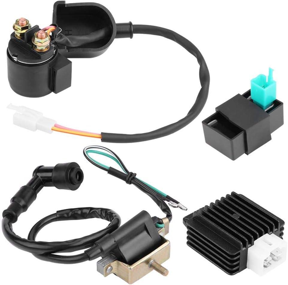 KIMISS Bobina de encendido regulador Rectificador de arranque Rel/é Bobina de encendido Caja CDI para 50cc 70cc 90 110cc ATV Quad